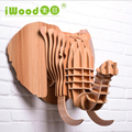 Creative Wooden Home Furniture Animal Head Wall Hanging Elephant Head Wood Craft For Art Home Wall Decoration IW-WD012 White Red