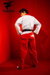 Image 3 - Nova flor fogo taekwondo uniforme adulto tae kwon do estrada homem e mulher de mangas compridas taekwondo costura doboks