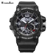 BOUNABAY deportes impermeable de los relojes para los hombres hombre relojes de mens superior de la marca original relojes WR50M reloj del deporte del Movimiento de Japón negro