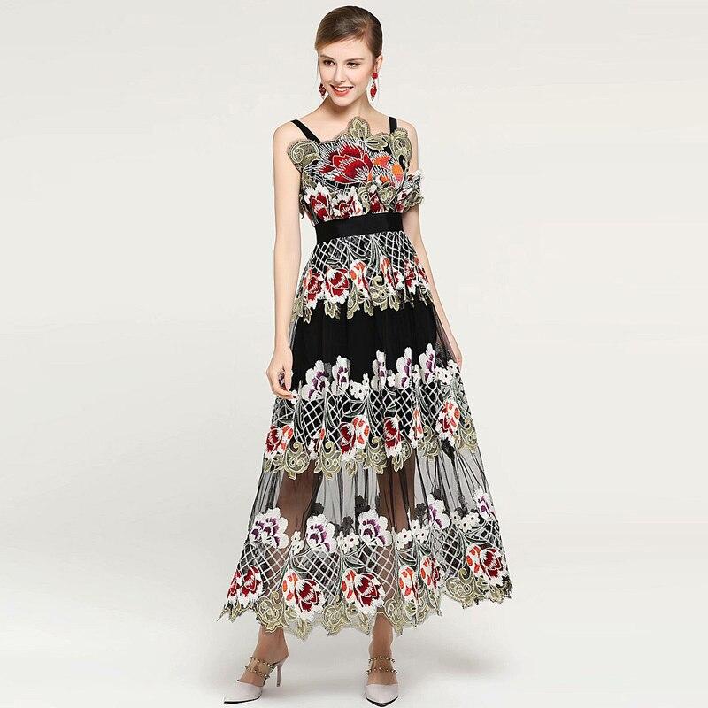 XF 2019 Frühling Und Sommer Modell Designer Böhmischen Frauen Kleid Sling Drucken Lange Mode Mailand Runway Kleid