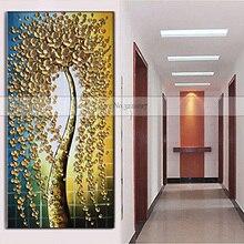 Handmade Modern Canvas Abstract Money Tree Knife Oil Painting on Handpainted Golden Flower Quardro Art Picture