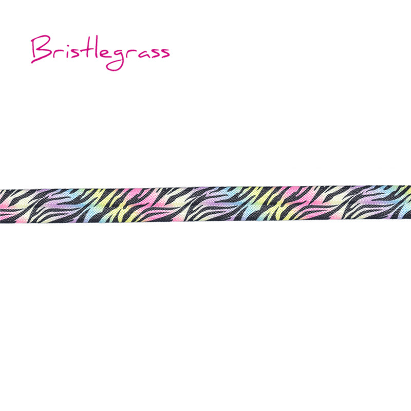 BRISTLEGRASS 5 Yard 5 8 quot 15mm Rainbow Zebra Print Shiny FOE Fold Over Elastics Spandex Band Hair Tie Headband Lace Trims Sewing in Elastic Bands from Home amp Garden