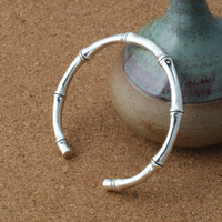 Solid Pure Sterling Silver 925 Bamboo Knot Cuff Bangle Bracelet Men Women Vintage Thai Silver 925 Elegant Thin Band Bracelet