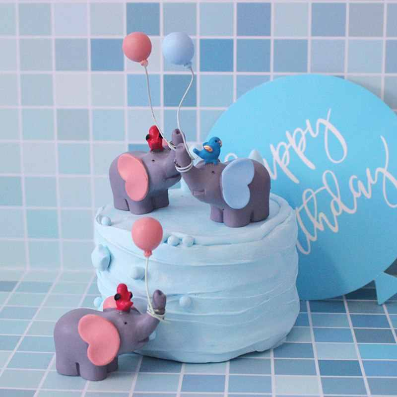 Pleasant Cute Balloon Bird Elephant Animal Party Cake Topper Baby Shower Personalised Birthday Cards Paralily Jamesorg