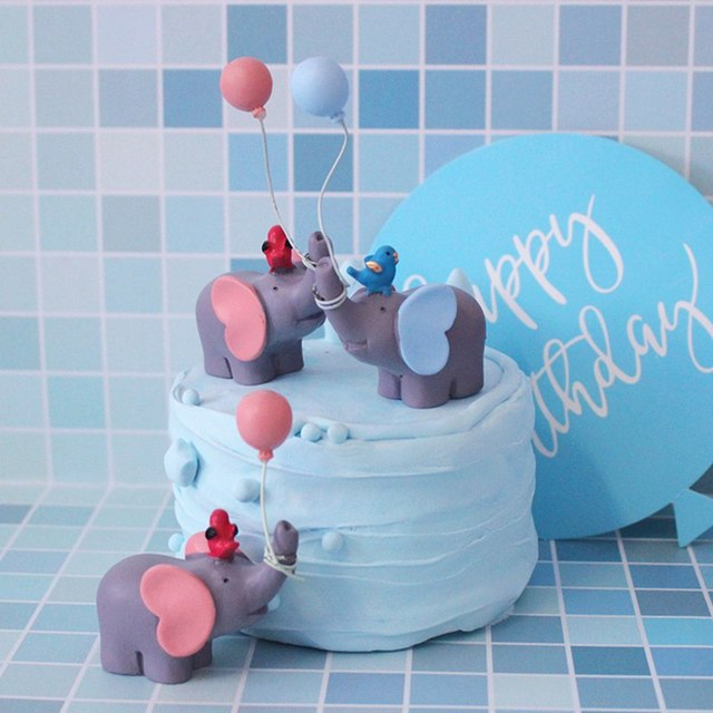 Cute Balloon Bird Elephant Animal Party Cake Topper Baby Shower Boy Girl Birthday Party Decorations Kids Happy Birthday Gifts