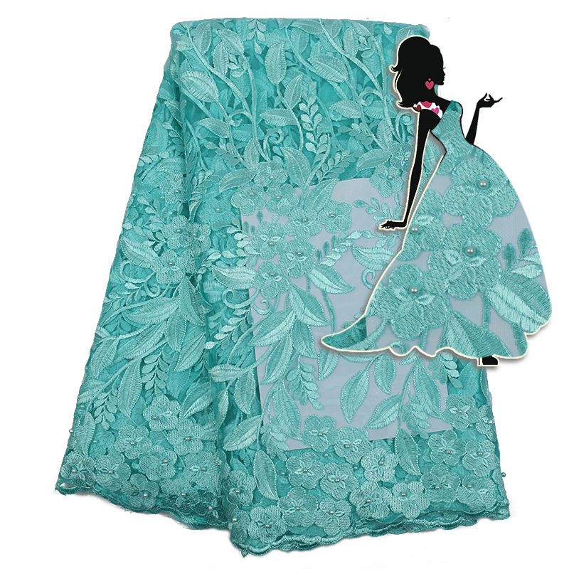 Mint Green African Lace Fabric 2019 High Quality French Tulle Lace Fabric With Beads Nigerian Embroidery Net Lace KS2289B