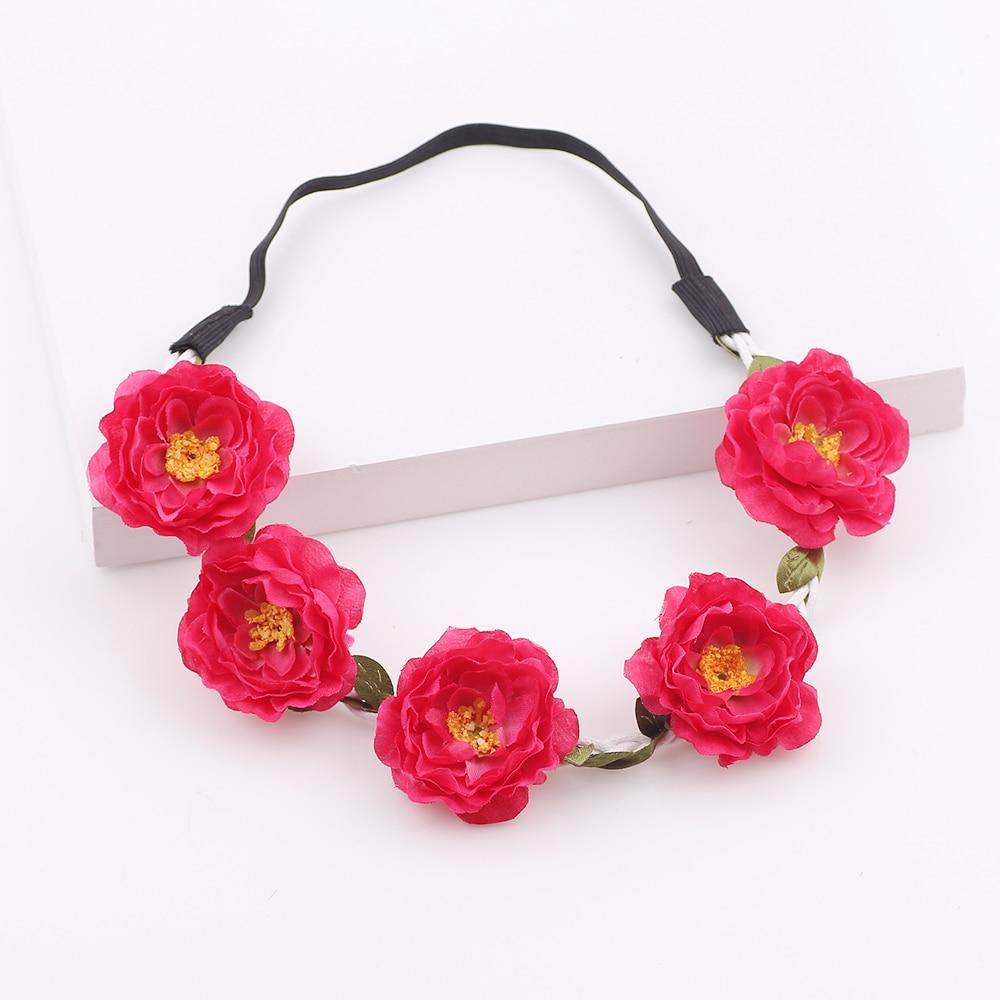 Bridal Floral Crown Headbands Wreath Bezel Hair Accessories For Women Bohemian Hair Band ...