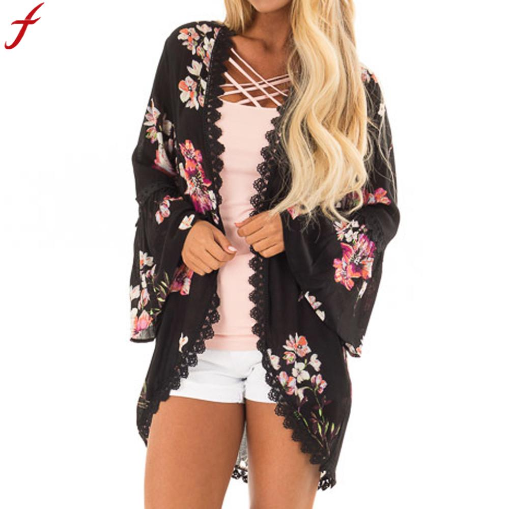 Vintage Female Man Kimono Cardigan 2019 Flower Print Lace Coat Tops Suit Kimono Fashion Long Sleeve Chiffon Blouse And Shirt
