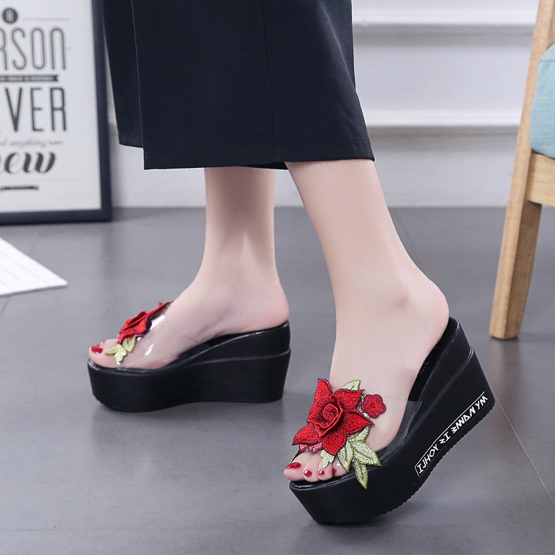 2f0284231716 Women Summer Sandals Thick Heel Platform Wedges Sandals Sweet Flower  Slippers Sandalias Slides White Black High Shoes m034-in High Heels from  Shoes on ...