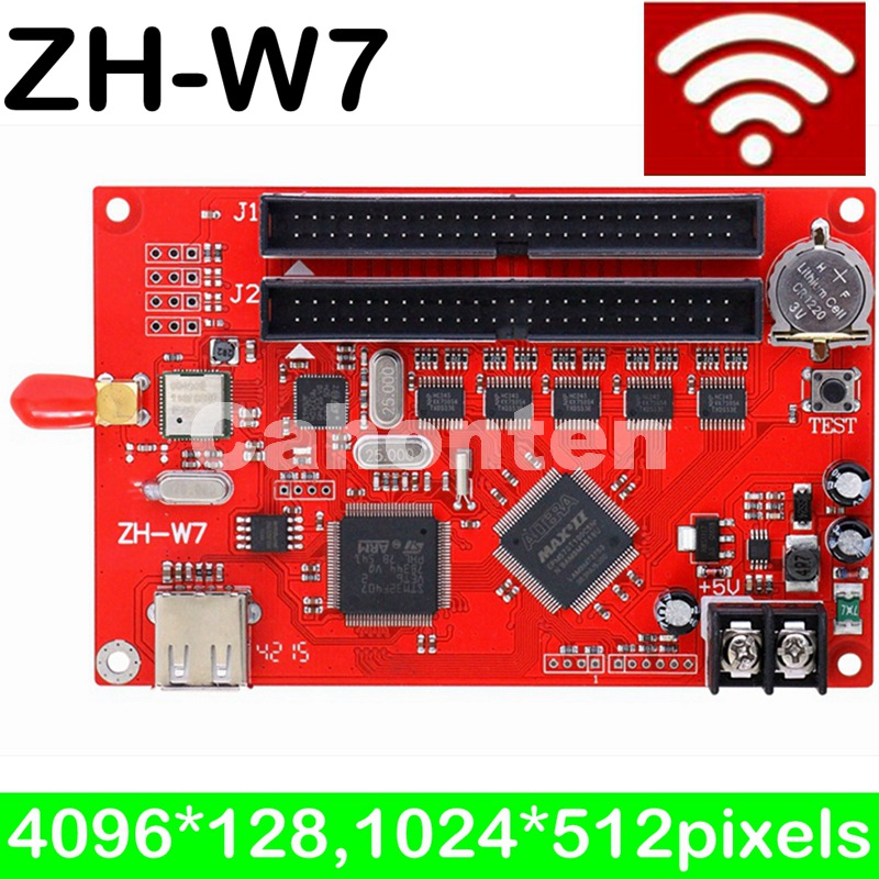 ZH-W7 WIFI led controller card 2048*256 pixels asynchronous system led control card for single ,dual,full color led screen sign bx 6q3 usb and ethernet port lintel full color led control card asynchronous video led sign controller 384 1024 512 768pixels