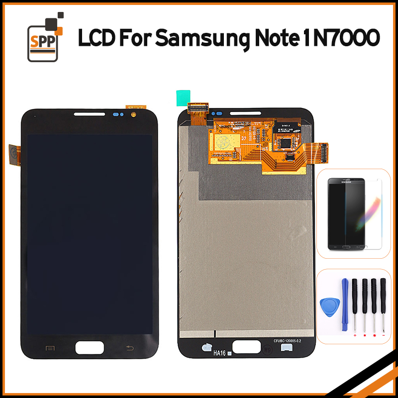 LCD Screen for Samsung Galaxy Note 1 N7000 LCD Display Touch Digitizer Complete Assembly Replacement Pantalla Black white+tool lcd screen assembly for apple iphone 4 4g lcd display touch screen digitizer pantalla with frame bezel replacement black white