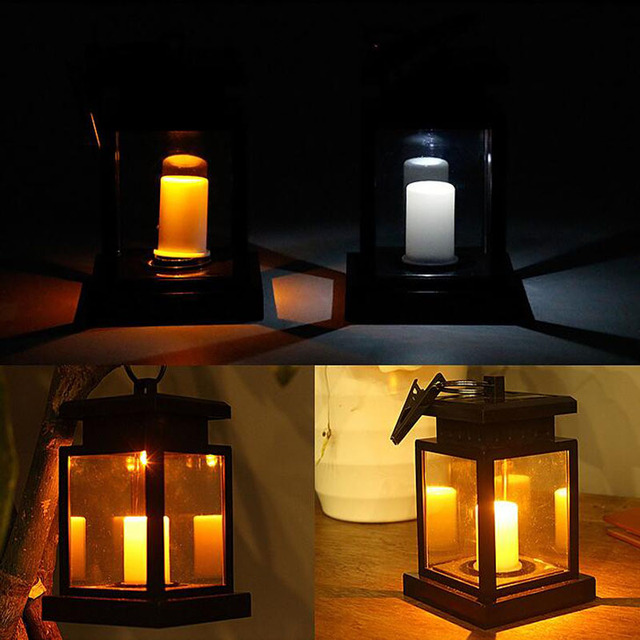 1 Pc Waterproof Led Solar Garden Light Flickering Flameless Candle Outdoor Lighting Hanging Smokeless Lantern