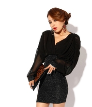 Glitter Dress Sheath Bodycon Loose Long Sleeve Clubwear