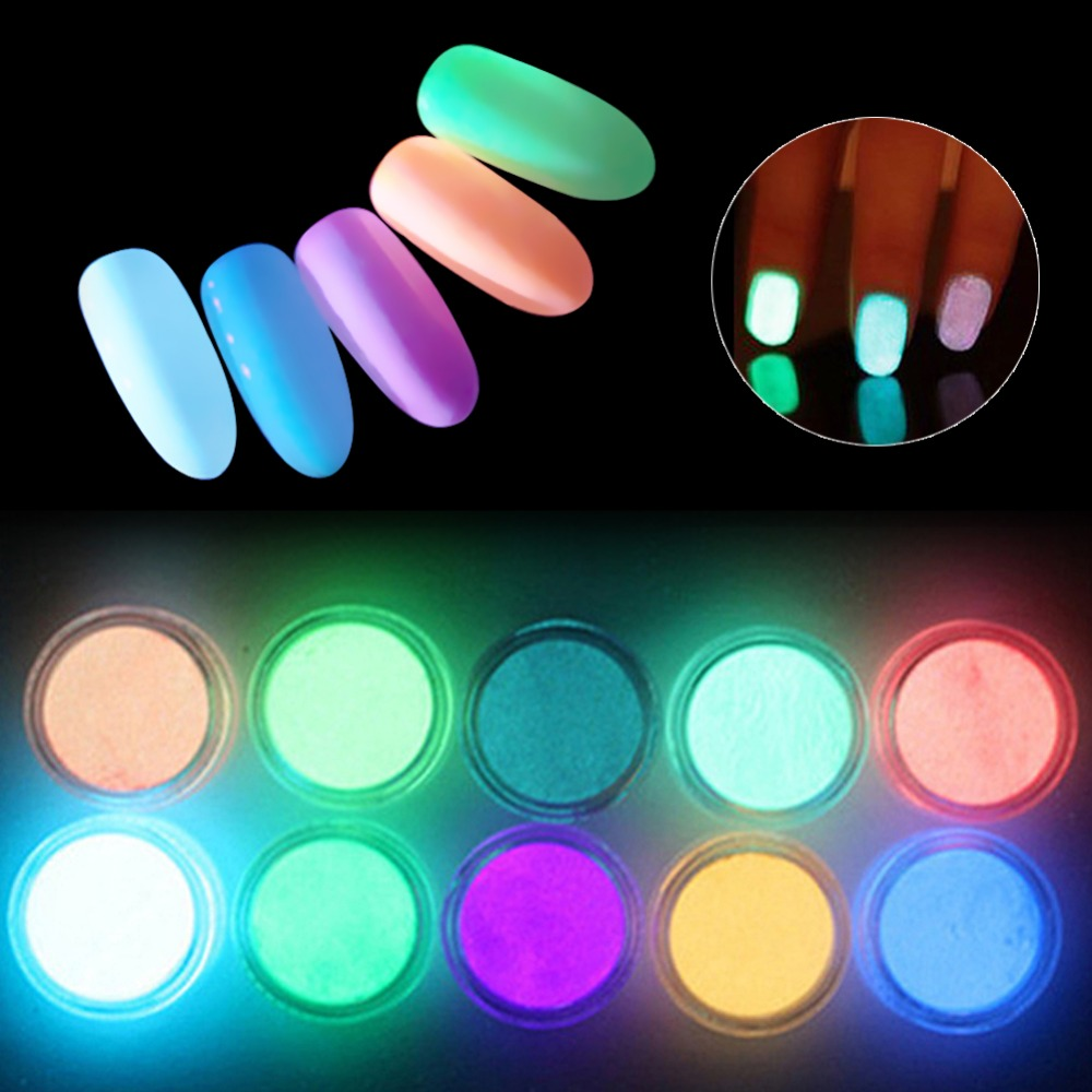 Meicaillin 12 color Fluorescent Powder DIY Bright Nail Art Glow In The Dark Sand Powder Glow Pigment Dust Luminous Nail Glitter prescription drug