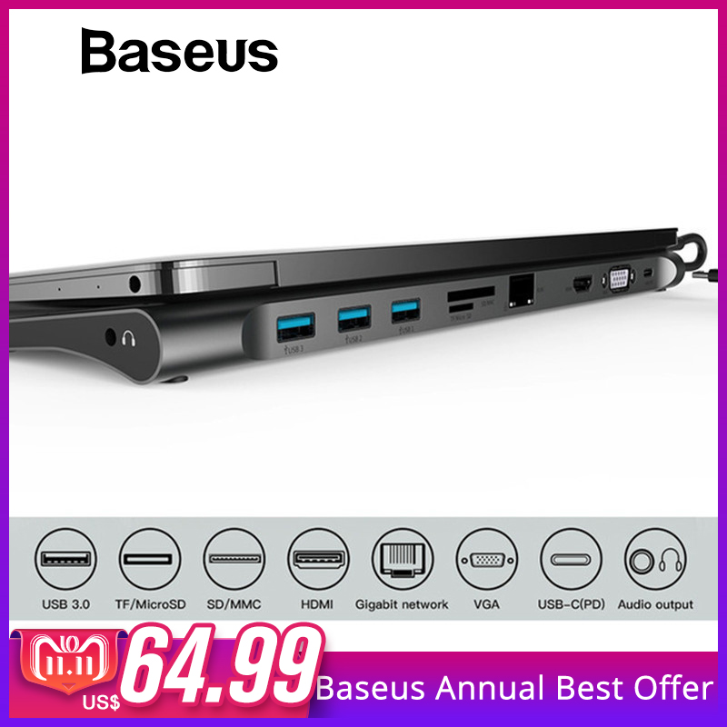 Baseus Multi All-in-1 USB Type-C to HDMI VGA Video Audio Converter Adapter USB 3.0 HUB with SD/TF Card Reader for Macbook Pro
