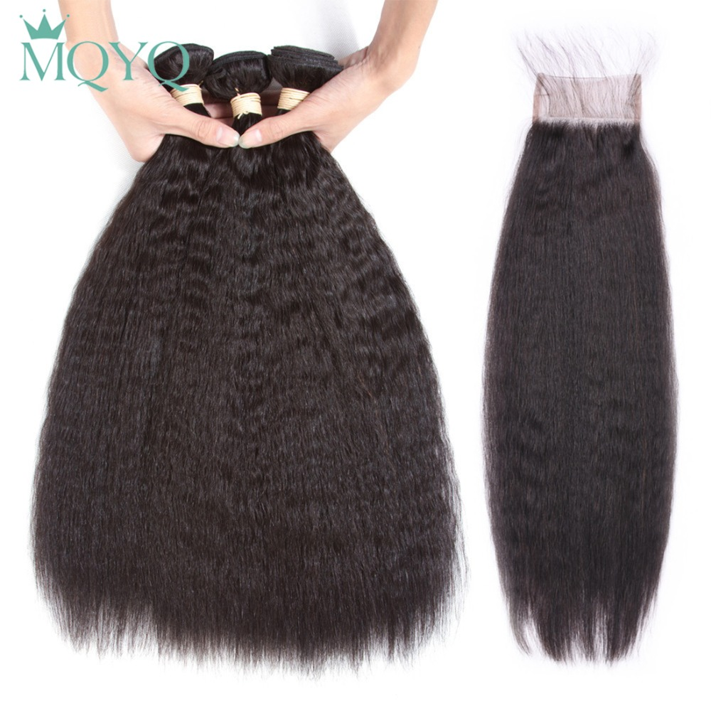 MQYQ Indian Kinky Straigt Hair Bundles With Closure Remy Hair Extensions Yaki Straight Human Hair Bundle With Lace Closure