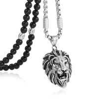 Men S Stainless Steel Lion Head Pendant Necklace Black Natural Stone Chain 26 For Men Jewelry