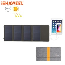 HAWEEL 28W Foldable Solar Panel Charger with 5V 2.9A Max Dual USB Ports Portable Travel Powered