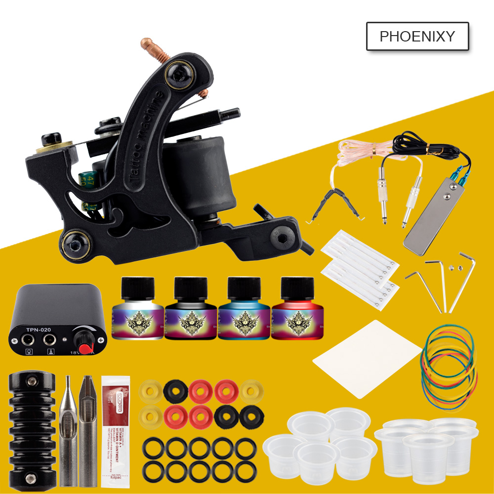 Tattoo Kit Completed Tattoo kits 8 wrap coils guns machine 4 Color tattoo ink sets power supply disposable needle tattoo kit completed tattoo kits 8 wrap coils guns machine 4 color tattoo ink sets power supply disposable needle