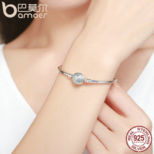 BAMOER Authentic 100% 925 Sterling Classical Silver S Pave Vintage Snake Chain Bangle & Bracelet
