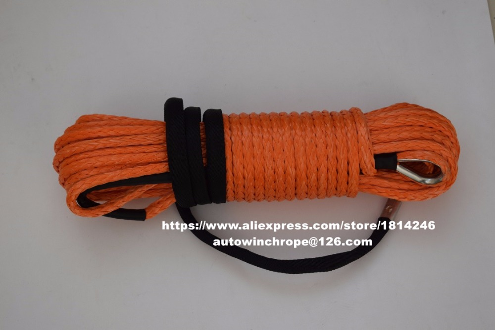 Orange 10mm*30m Synthetic Rope,ATV Winch Cable for Auto Parts,Coated Winch Cable,Off Road Rope