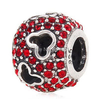 European 925 Sterling Silver Jewelry Mickey Head Charm Pave With Red Austrian Crystal Compatible Chamilia Style