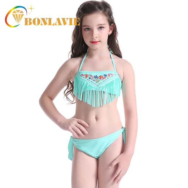 dbc4da90c1 Cute Children Swimming Suit Girls Two Piece Bikini Tassel Embroidery Swimsuit  Kids 2018 Summer Beach Wear Bathing Suits