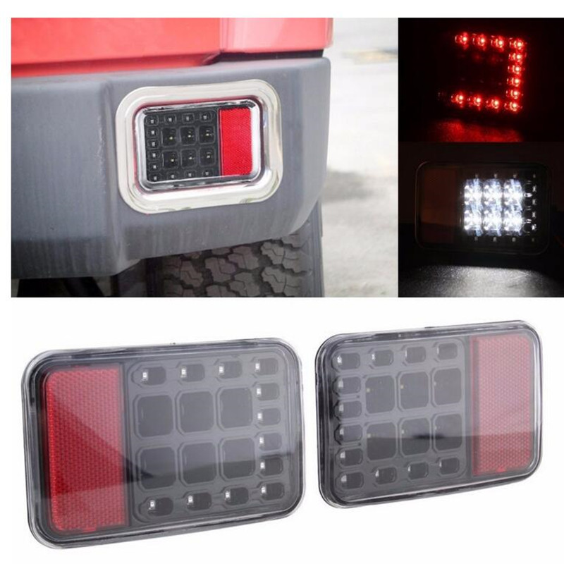 FOR 07-16 JEEP WRANGLER JK BLACK CLEAR LENS LED REAR BUMPER TAIL REVERSE LIGHTS high quality stainless steel black light guard rear taillights cover for 07 17 jeep wrangler jk 2 door