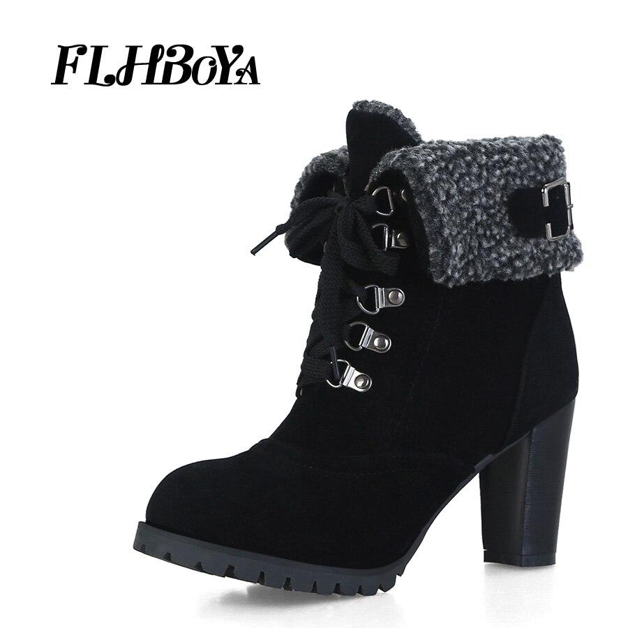 FLHBOYA Winter Women High Block heels Ankle Boots Ladies Black Gray Turned-over edge Thick Heel Buckle Female Short Boot Shoes peter block stewardship choosing service over self interest