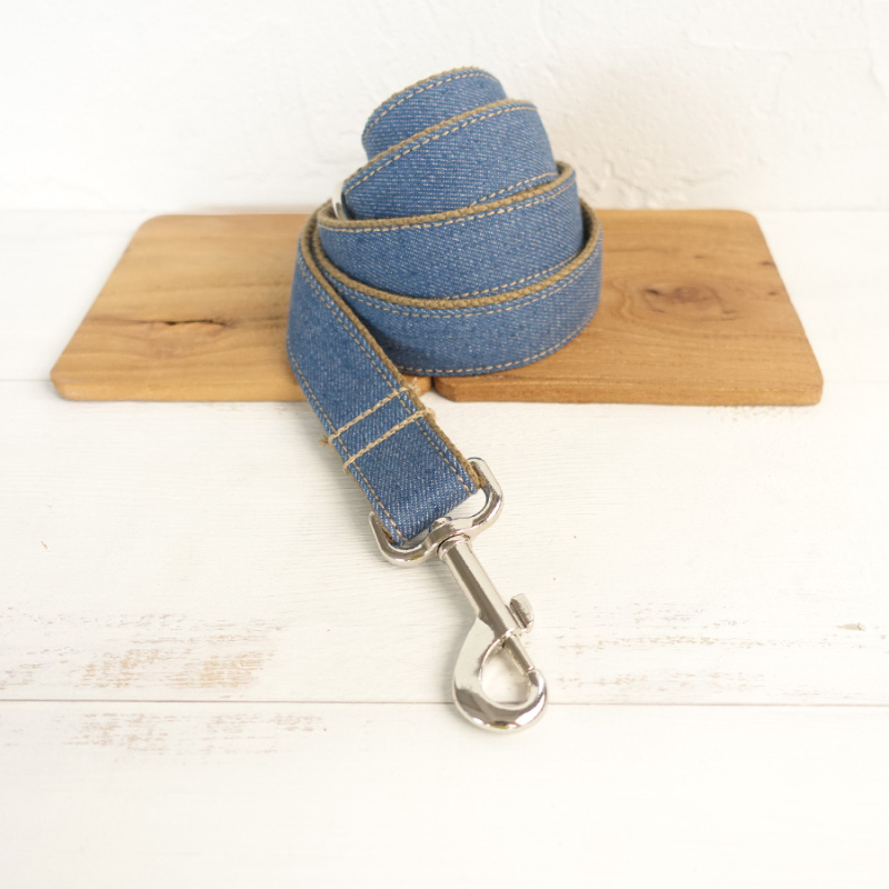 MUTTCO retailing creative-design fashionable handmade leash THE BLUE JEAN wear comfortable dogcollars and leashes 5 sizes UDL003