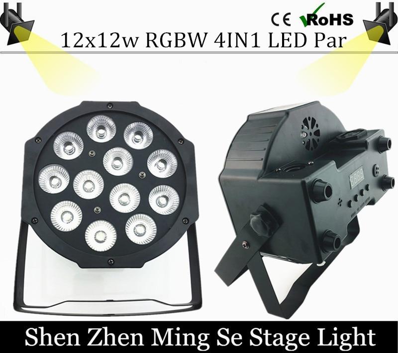 12pcs 12w Led Lamp Beads 12x12W Led Par Lights RGBW 4in1 Flat Par Led Dmx512 Disco