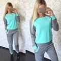 Весна Осень Толстовки 2017 Женщин 2 Шт. Наборы Зеленый розовый spotsuit Топ + брюки Полный рукав Установить Случайный спортивной одежды Лоскутное костюмы