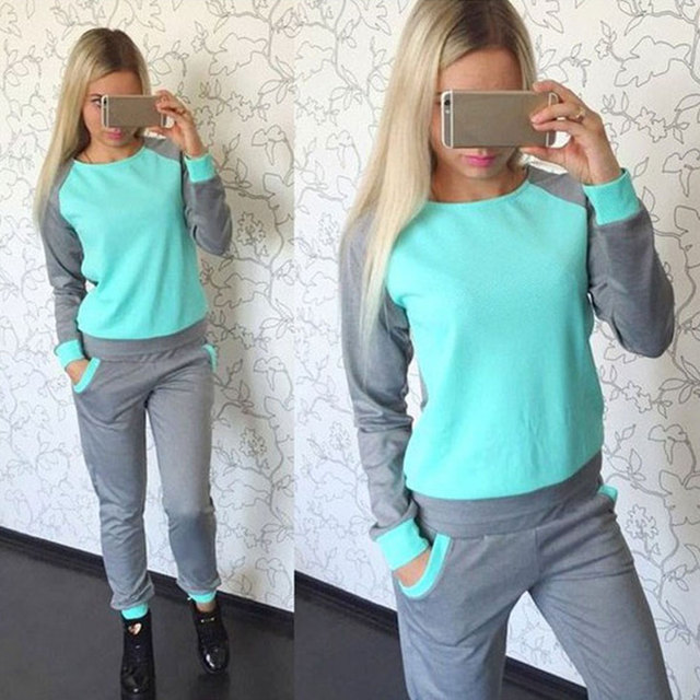 Spring Autumn Hoodies 2017 Women 2 Piece Sets Green pink spotsuit Top+pants Full sleeve Set Casual sportwear Patchwork Suits