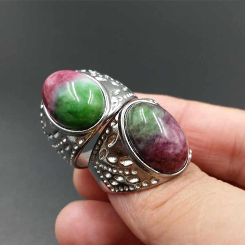 หยกธรรมชาติใหม่พีชดอกไม้หยกไข่ก๋วยเตี๋ยวแหวนหยกสีม่วงขนาดใหญ่แหวนชายและหญิงที่มีแหวน