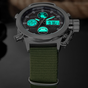 Image 4 - GOLDENHOUR Sport Men Wristwatch Fashion Men Quartz Watch Nylon Strap Week Display Army Military LED Clock Relogio Masculino