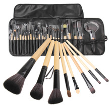 24Pc Black Wood makeup brushes Tool Cosmetic Eyeshadow Powder Brush Set pinceaux maquillage with Case bag de pinceis de maquiage 12 24pcs makeup brushes cosmetic tool kits professional eyeshadow powder eyeliner contour brush with case bag pincel maquiage