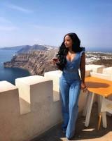 VAZN Sexy Design 2018 New Popular Slim Women 2 Piece Denim Set Solid Short Petal Sleeve Tops Full Length Bodycon Set SY0713