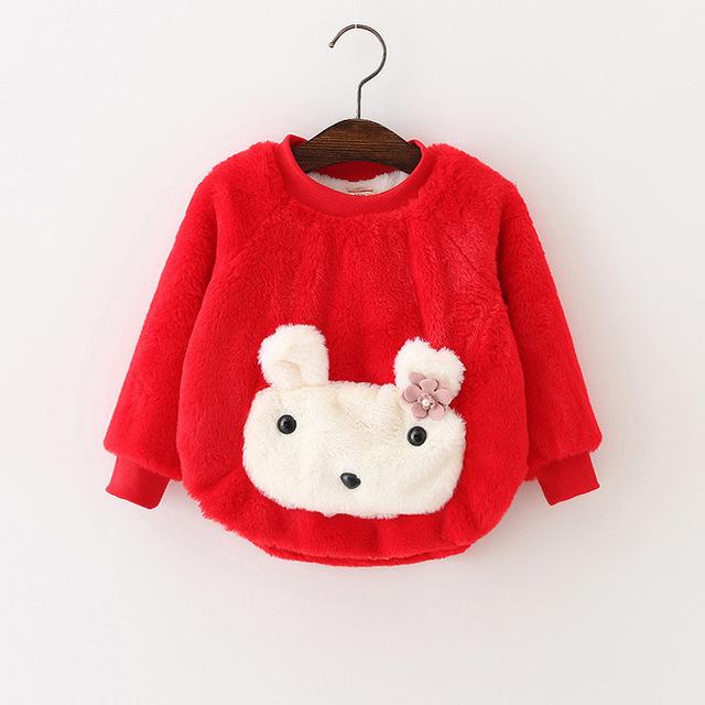Otoño invierno 2016 de los niños con capucha de conejo de dibujos animados niñas ropa de terciopelo caliente infantil recién nacido suéteres suéteres faux fur