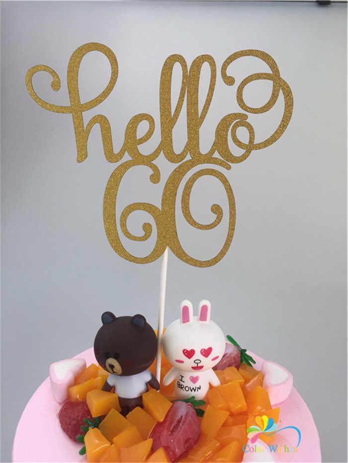 11.5x15 ซม.Hello 21/30/40/50/60 GOLD Glitterวันเกิดเค้กTopperสำหรับงานแต่งงานวันเกิดครบรอบวันเกิดเค้กตกแต่ง