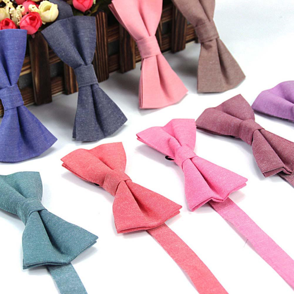 Men Groom Bow Tie Necktie Solid Color Casual Fashion For Wedding Party Suit Best Man FS99