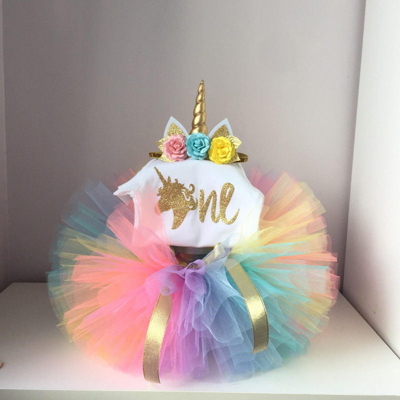 1 year Sequins Unicorn Pattern Dress Mini Tutu Colorful Tulle Baby 1st Birthday Dresses With Headband 3pcs Princess Costume