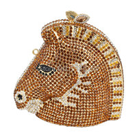 Horse Head Luxury Crystal Evening Clutch Bag Gold Handcraft Party Evening Bag Sparkly Silver Diamond Ladies