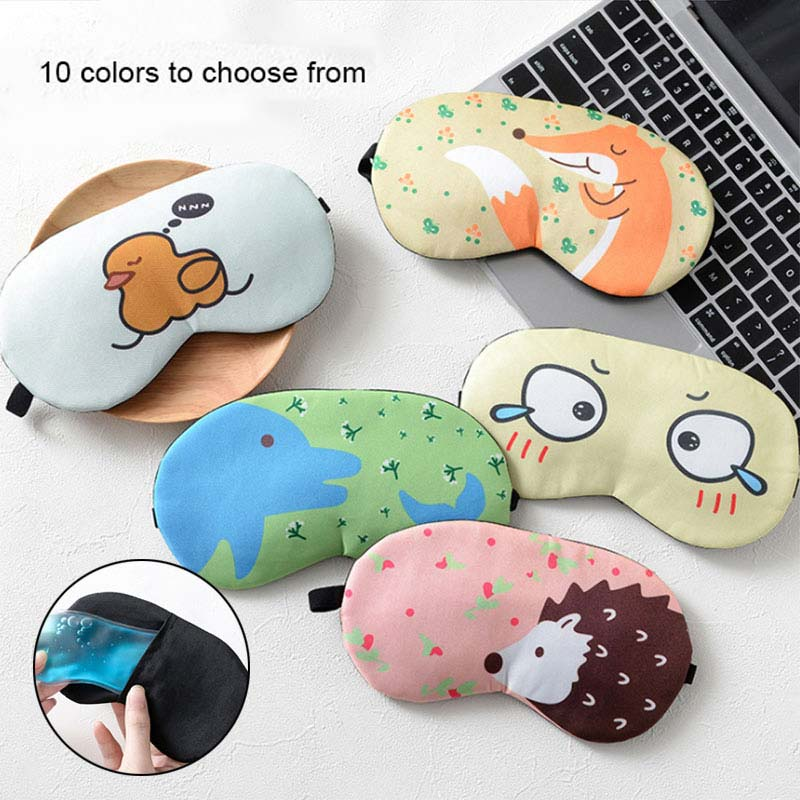 Summer Sleep Mask Eyepatch Rest Travel Relax Aid Blindfold Ice Cover Cute Pattern Eye Patch Sleeping Eyeshade For Men Women cute cartoon animal rabbit velvet sleep eye mask well rest aid normal eyeshade protection cover mr102