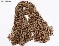 Femmes foulard en mousseline de soie 150*45cm style mince écharpes imprimer chat étoile léopard châles et écharpes meilleur cadeau de fête 22009