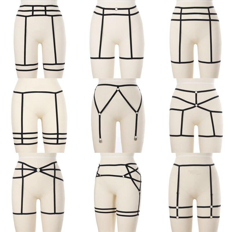 Women Sexy Leg Harness Garter Belt Elastic Cage Hollow Leg Gothic Suspender Strap Underwear Leg Strap Garte