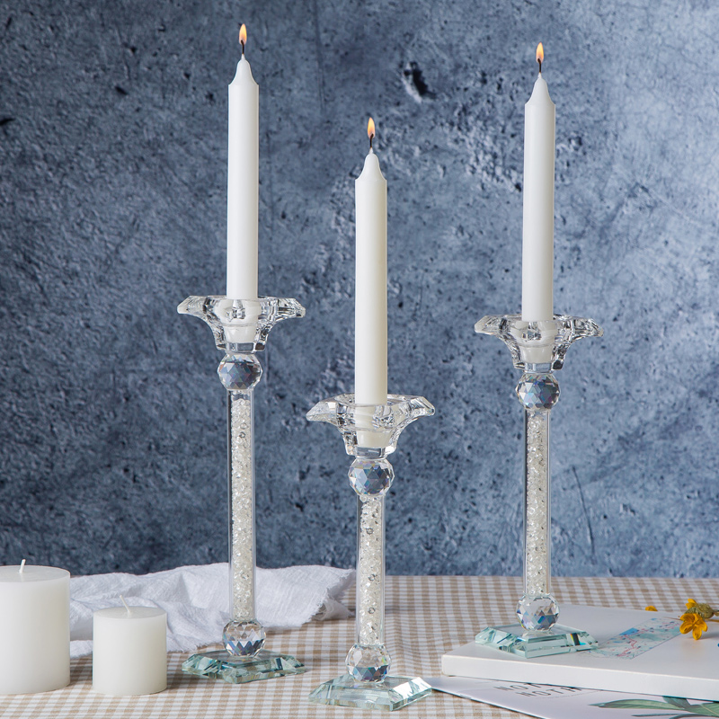Modern Accents Elegant Crystal Style Home Decor Tabletop Glass Sticker Candle Holders Pair