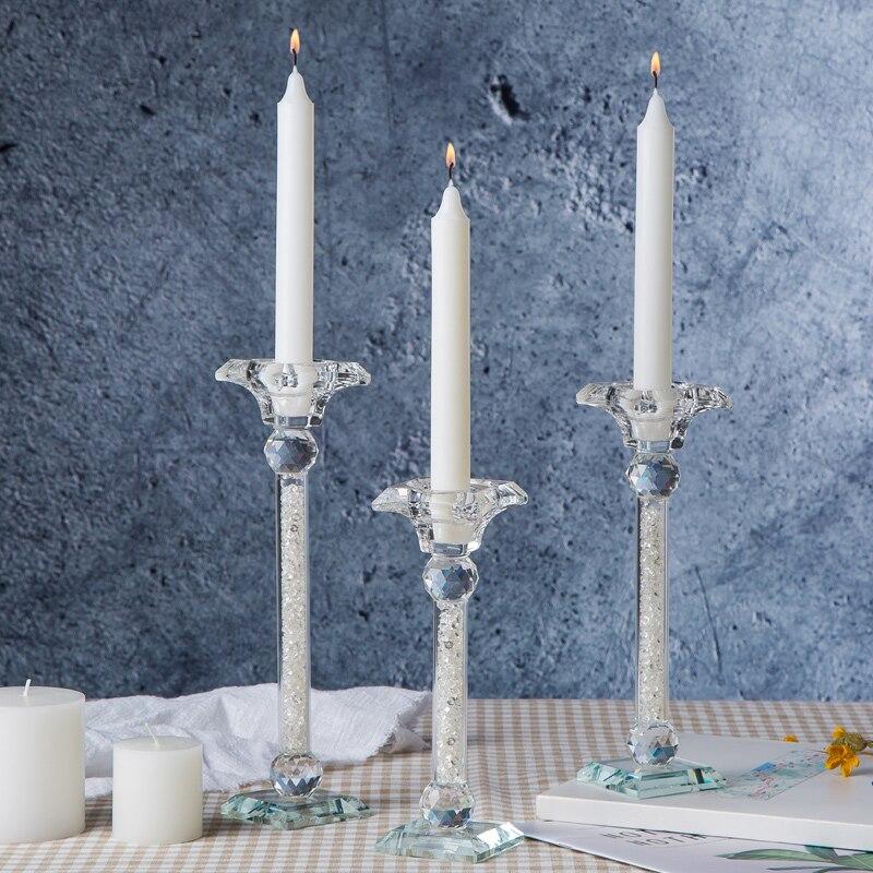 الحديثة لهجات أنيقة كريستال نمط المنزل ديكور الطاولة لاصق زجاج حوامل شموع زوج-في حاملات الشموع من المنزل والحديقة على  مجموعة 1