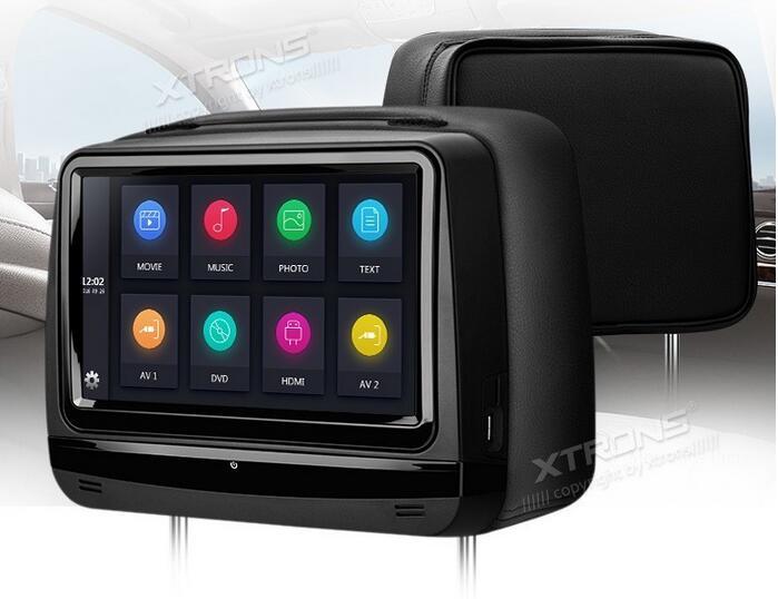 XTRONS 2 pcs Tactile Écran Voiture Appui-Tête DVD Moniteur Lecteur 9 pouces 1080 P Vidéo HD Numérique Couverture En Cuir avec HDMI USB SD