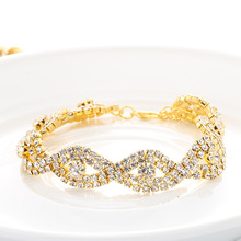 Luxury Crystal Bracelets For Women Gold and Silver Plated Link Bracelet Bangle Fashion Full Rhinestone Jewelry