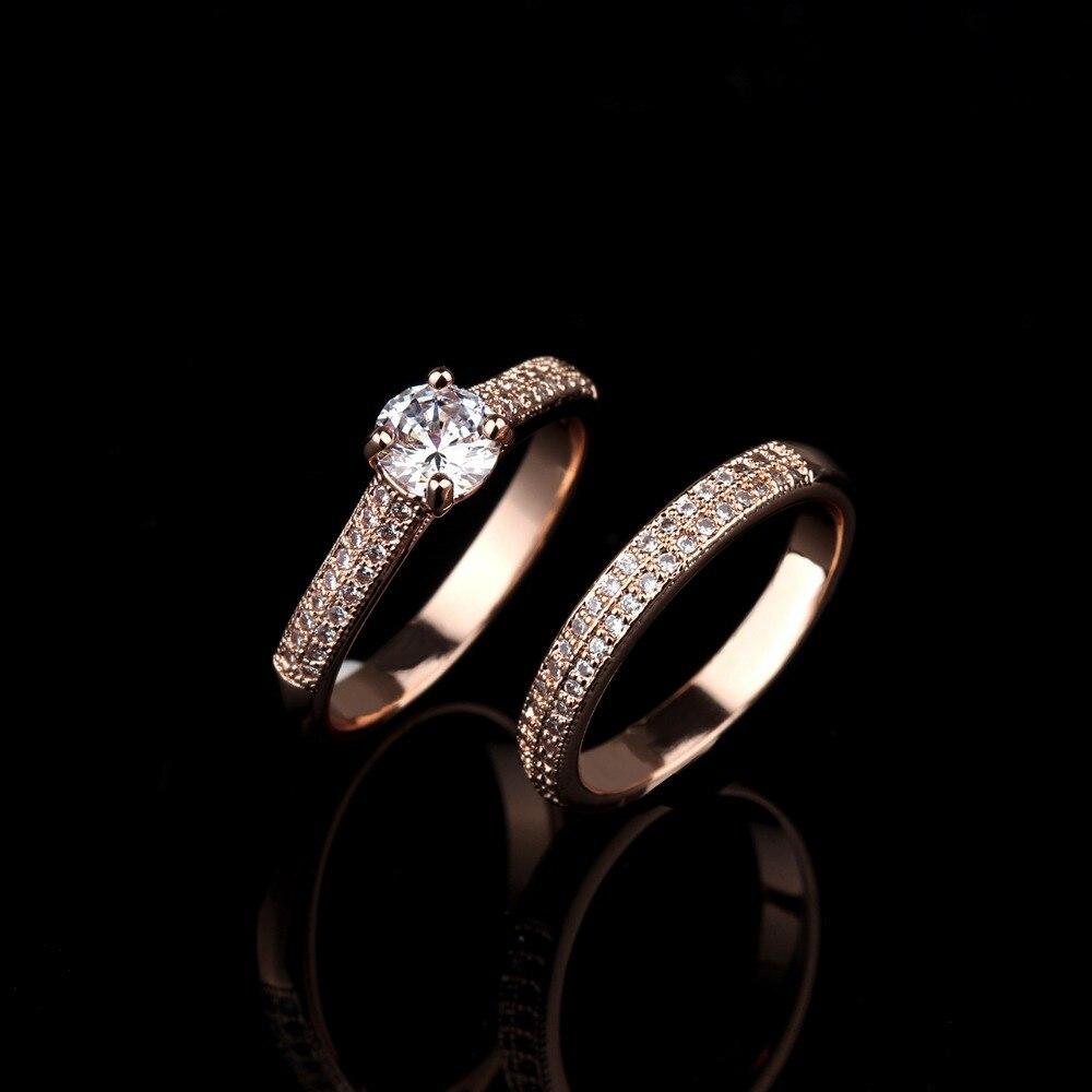 Мода двухрядные CZ свадебные Кольца набор для женщины обещание палец кольцо комплект для леди ювелирные изделия